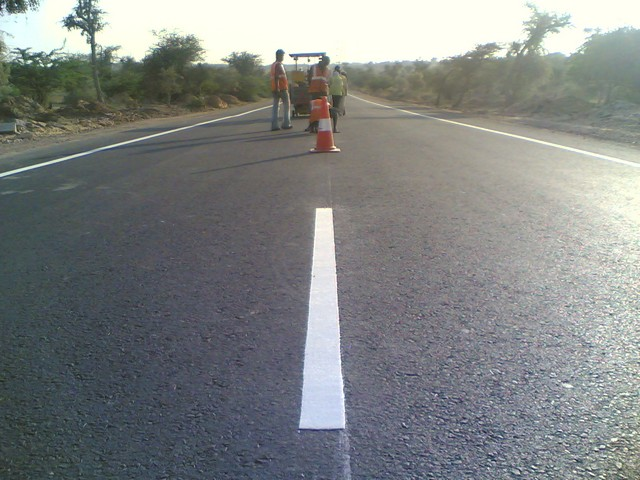 Thermoplastic Road Marking Paint showing Broken Centre Line